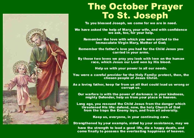 October Prayer To St. Joseph